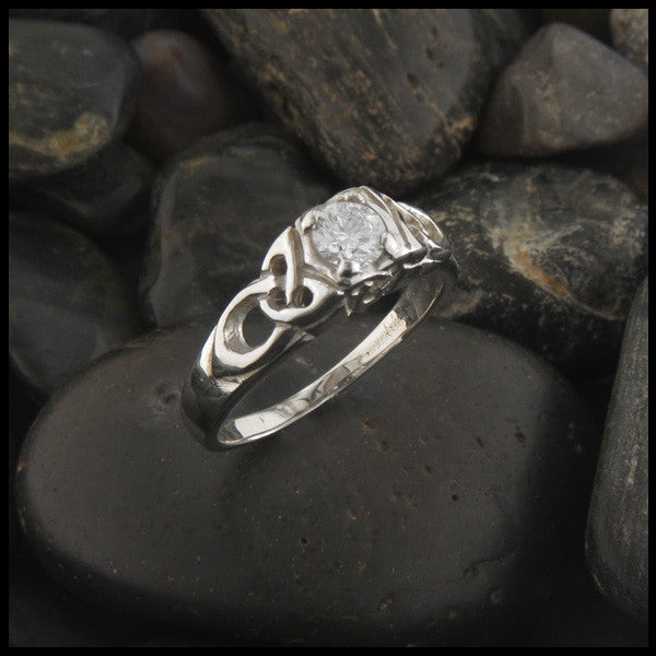 Cathedral Triquetra Diamond Celtic Engagement Ring