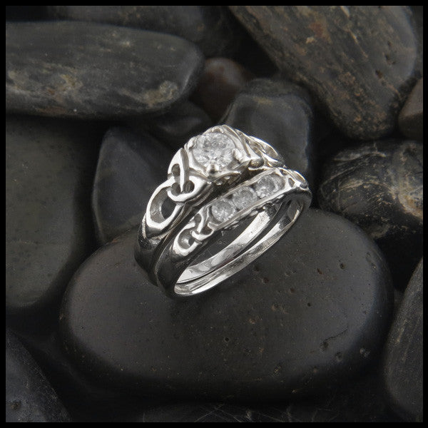 Cathedral Triquetra Diamond Celtic Knot Wedding Set ...