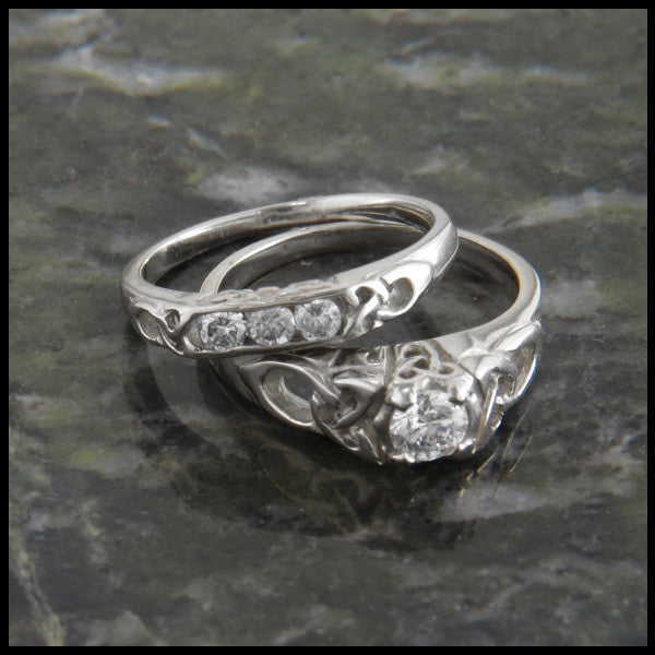 Cathedral Triquetra Diamond Celtic Knot Wedding Set