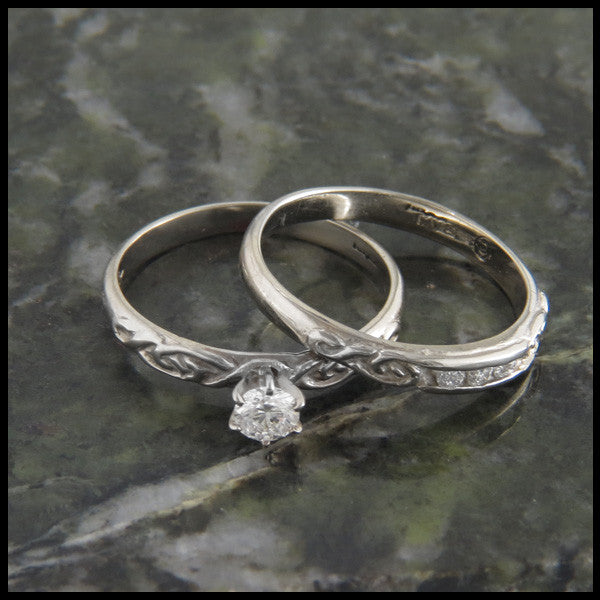 Celtic Knot Diamond Wedding Ring Set