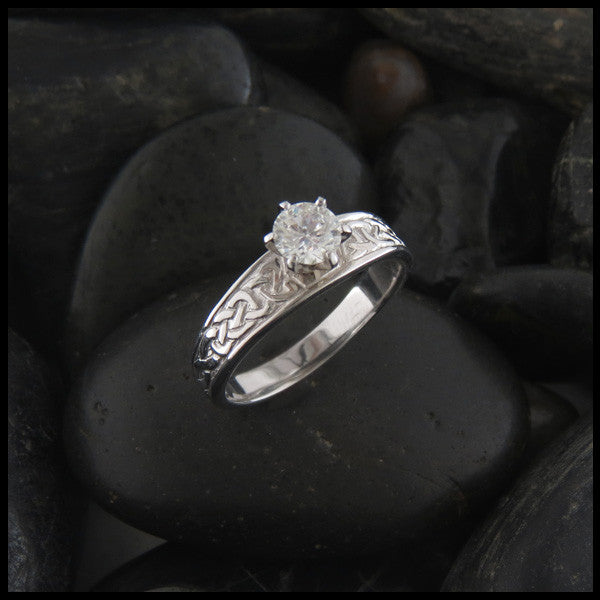 Tapered Celtic Knot Diamond Engagement Ring