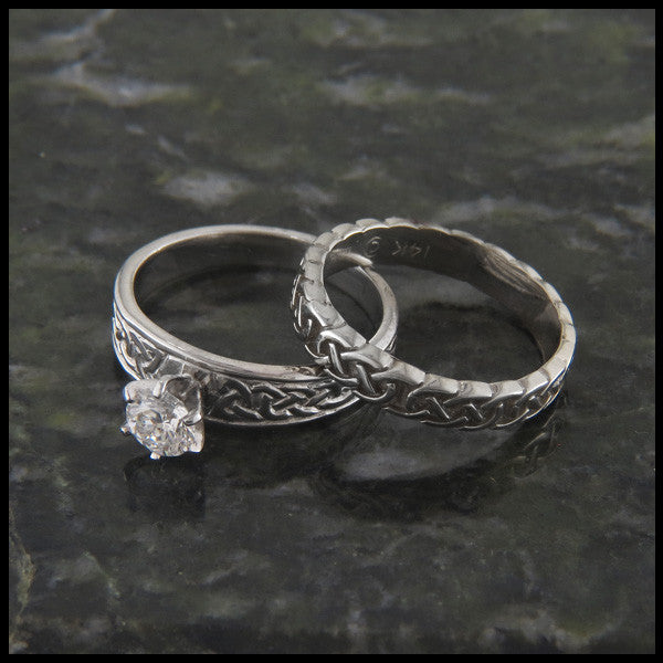 Celtic Knot Diamond Wedding and Engagement Ring Set