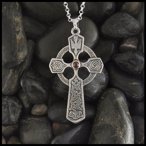 Large Trinity and Dove Cross in Sterling Silver with Gemstones