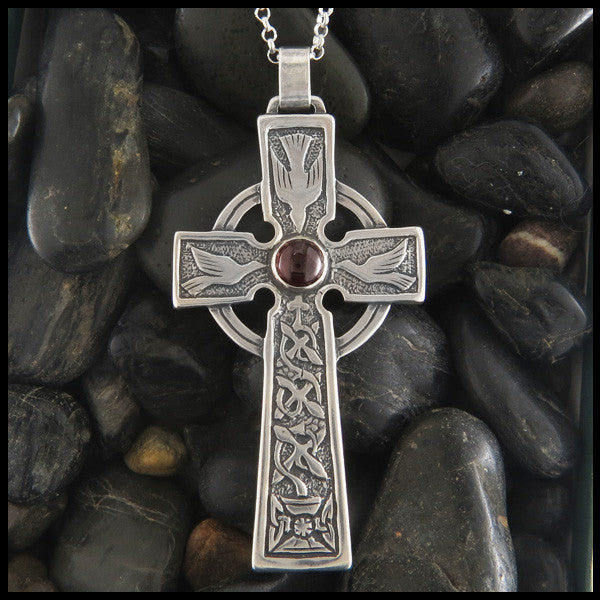 Large Celtic Dove and Trinity Cross in Sterling Silver with Gemstones