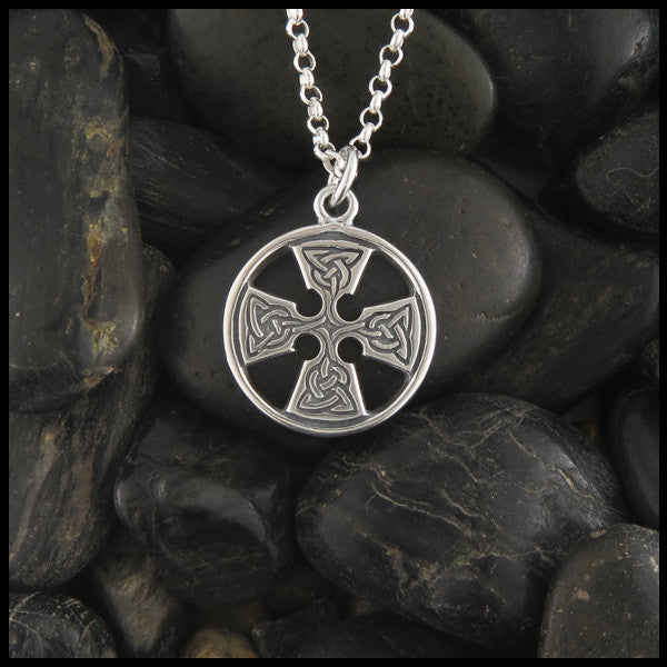 Round Medallion Equal Arm Celtic Cross in Sterling Silver