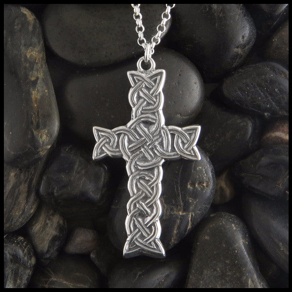 Detailed Braided Celtic Cross in Sterling Silver designed by Walker Metalsmiths