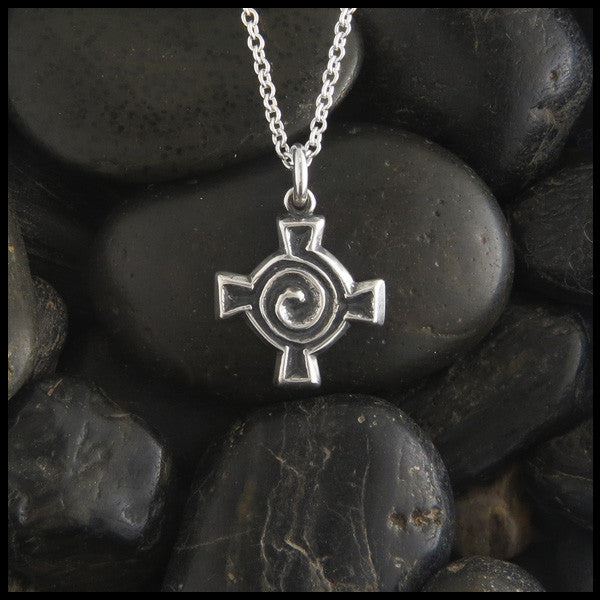 Small Spiral Celtic Cross Pendant in Sterling Silver