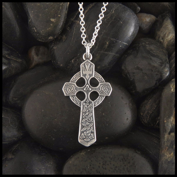 Trinity and Dove Celtic Cross in Sterling Silver