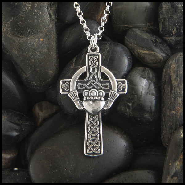 Traditional Celtic Cross with Irish Claddagh in Sterling Silver