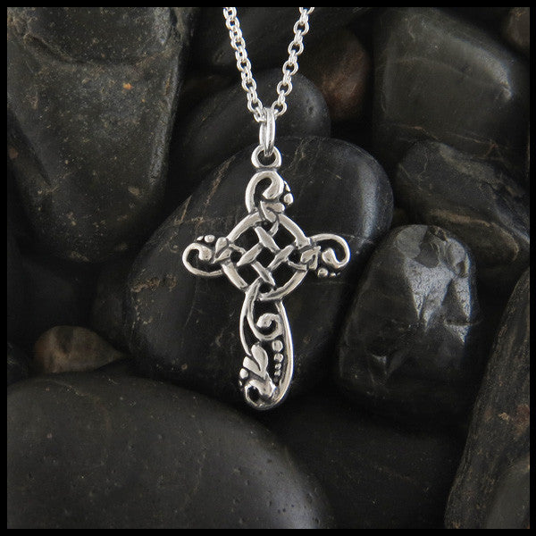 Feminine Ivy Celtic Cross with Gemstones