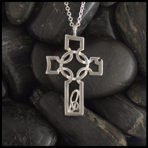 Asymmetrical Celtic Cross pendant in Sterling Silver