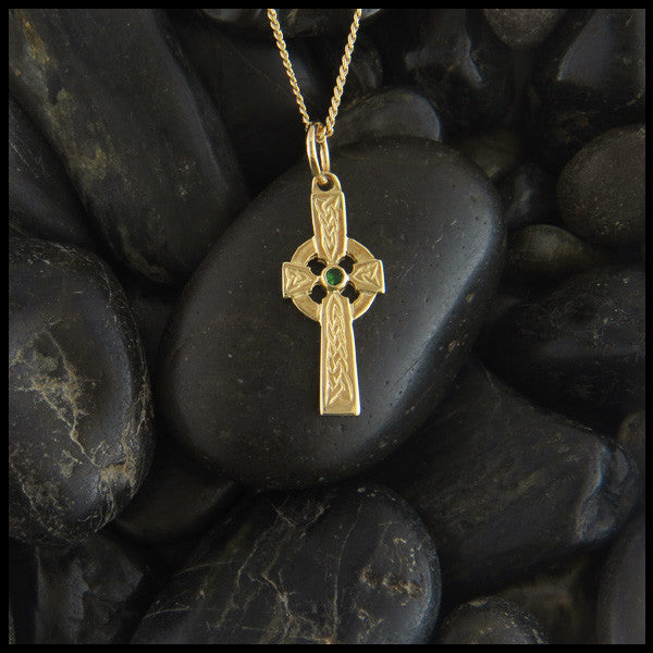 Dainty Celtic Cross in 14K Gold with Gemstones