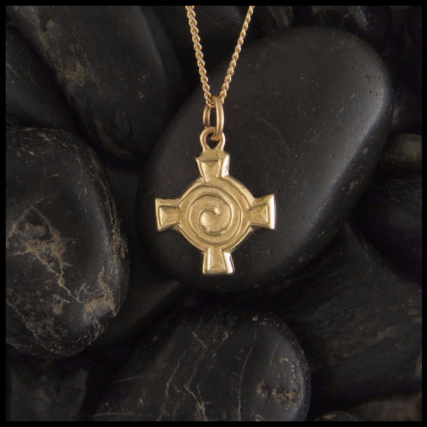 Small Celtic Spiral Cross in 14K Gold