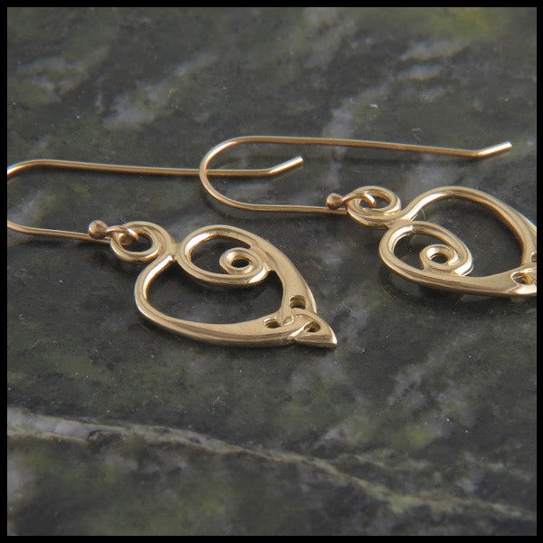 Triquetra Spiral Heart Celtic Earrings in 14K Gold