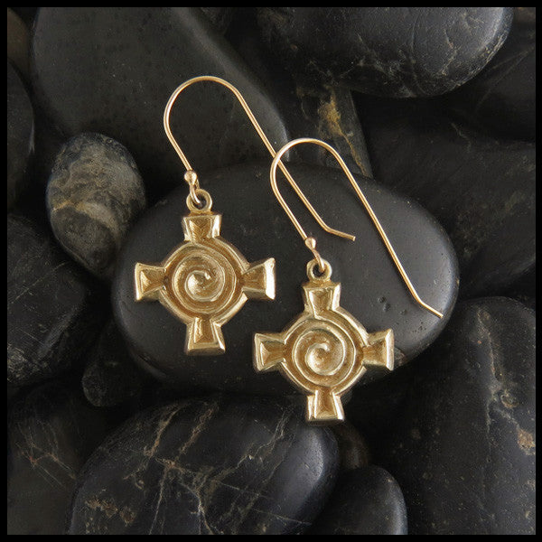 Unique Spiral Cross drop earrings in 14K Gold