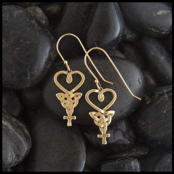 Celtic Knot Earrings in Gold, An Teor Heart Trinity Cross Knot