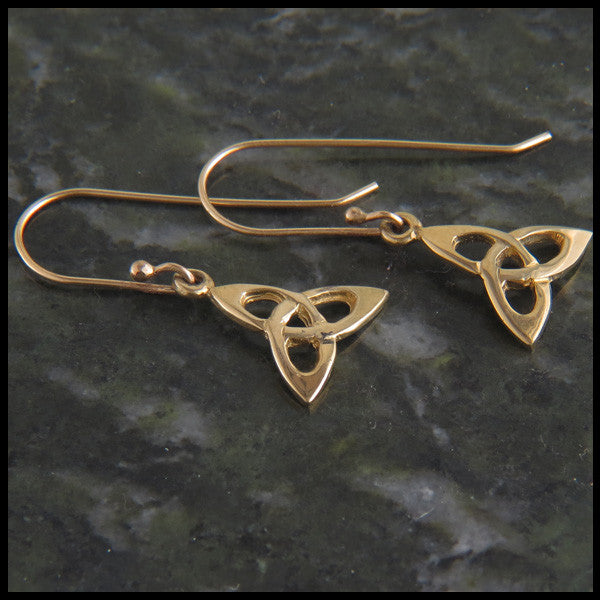 Triquetra Drop earrings in 14K Gold