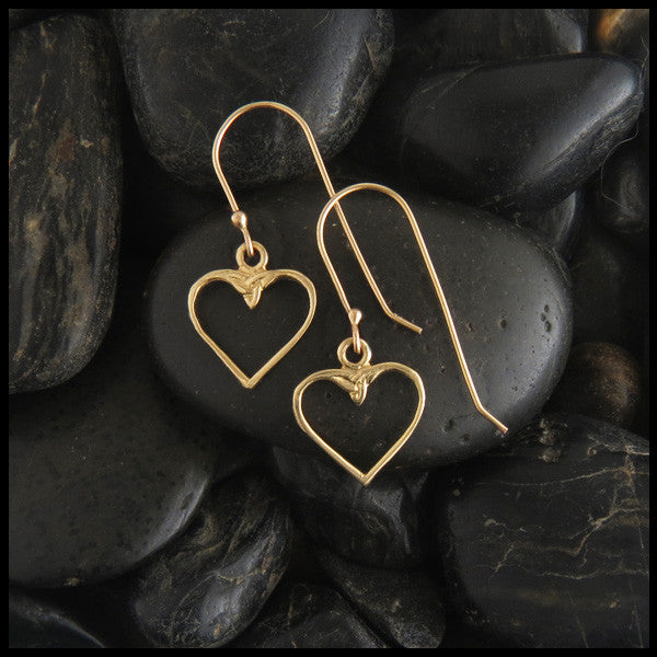 Colleen Celtic Heart Earrings in 14K Gold