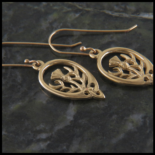Scottish Thistle Drop Earrings in 14K Gold