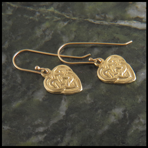 Gold Celtic Heart drop earrings