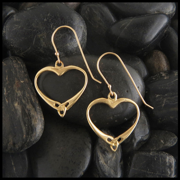 Celtic Open Trinity Heart Knot Earrings in Gold