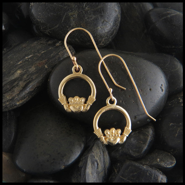 Claddagh Drop Earrings in 14K Gold