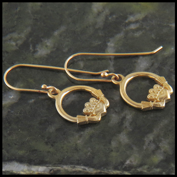Claddagh Earrings in 14K Gold