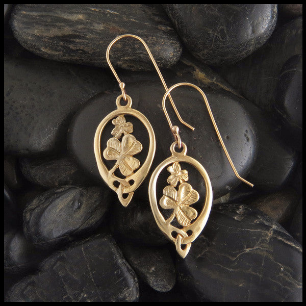 Irish Shamrock earrings in 14K Gold