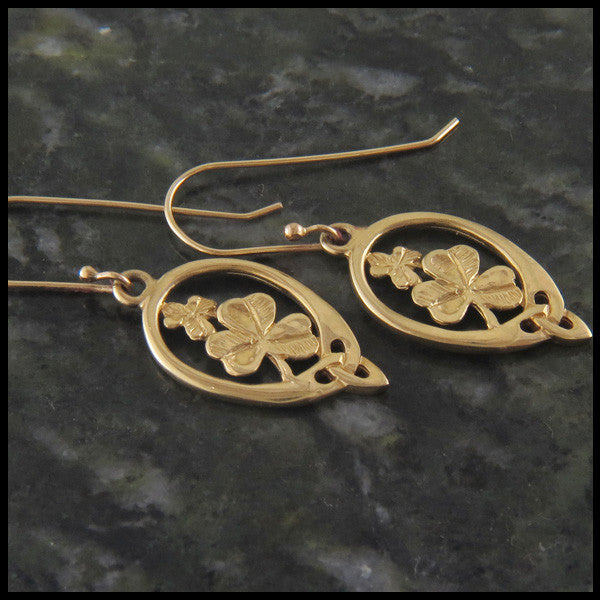 Shamrock earrings in 14K Gold