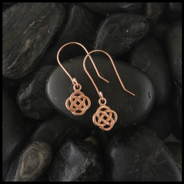 Dainty Josephine's Knot, Lover's Knot, Celtic Drop earrings in Gold