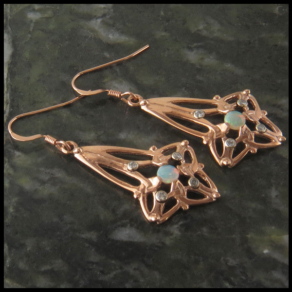 Triquetra Drop earrings with Opals and Diamonds