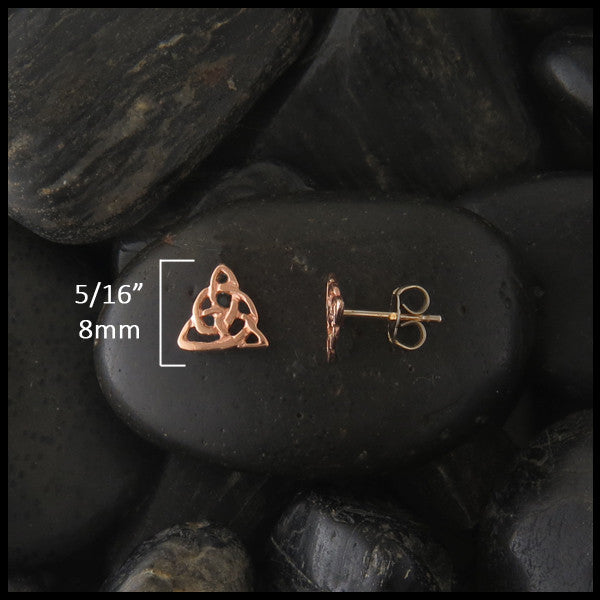Dainty triquetra post earrings in 14K Gold