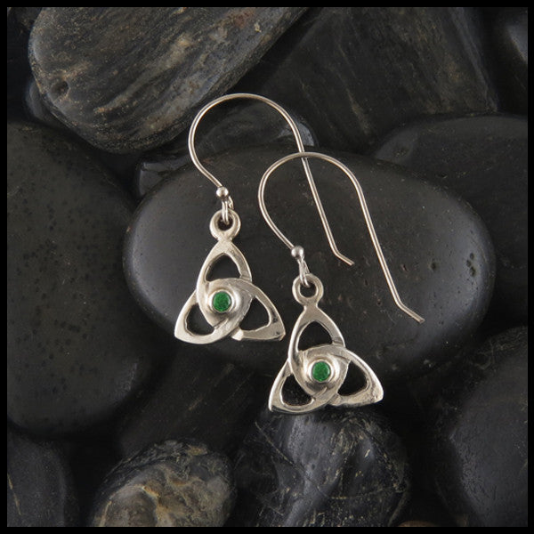 Triquetra Drop earrings in 14K Gold with Gemstones