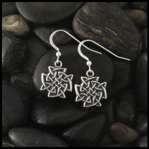 Large Celtic Knot drop earrings in Sterling Silver