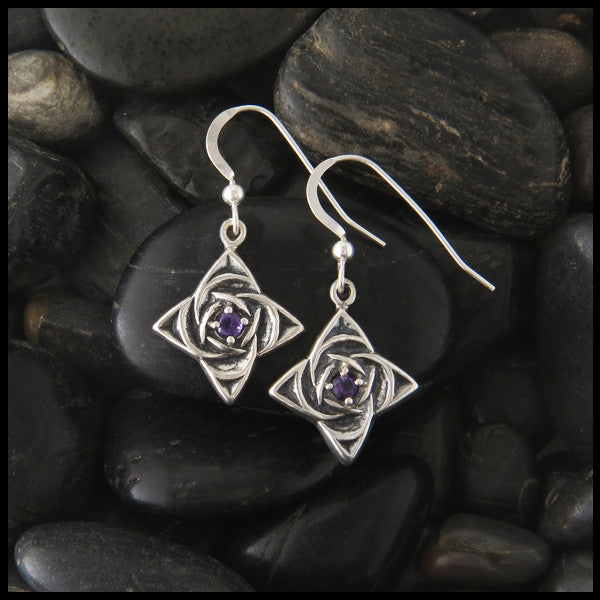 Celtic Star Knot drop earrings in Sterling Silver with Amethyst