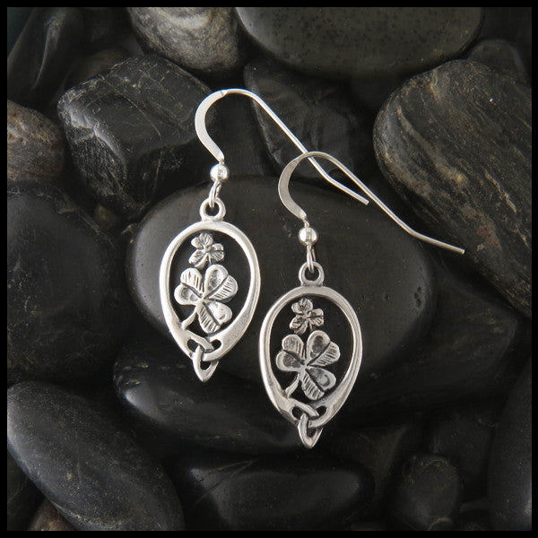 Irish Shamrock drop earrings in Sterling Silver