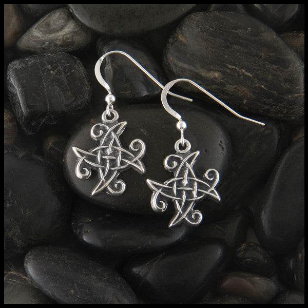 Unique Spiral Celtic Earrings in Sterling Silver