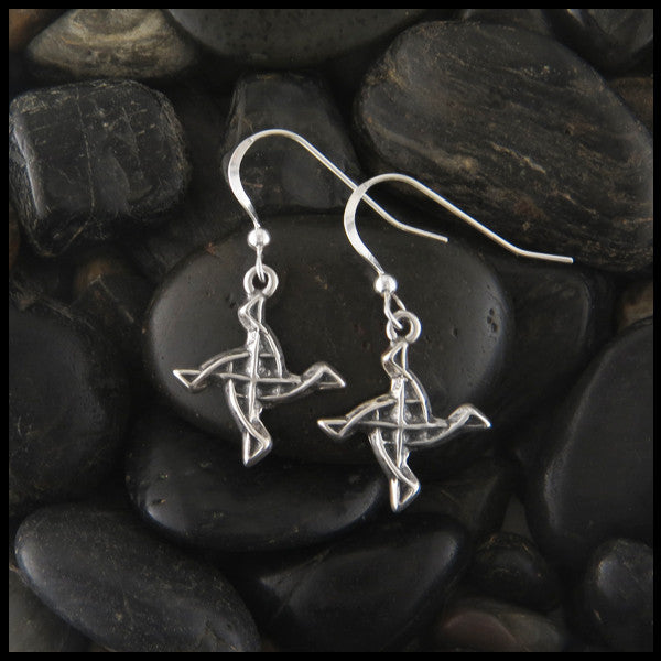 Unique St. Brigid Celtic Knot Earrings in Sterling Silver