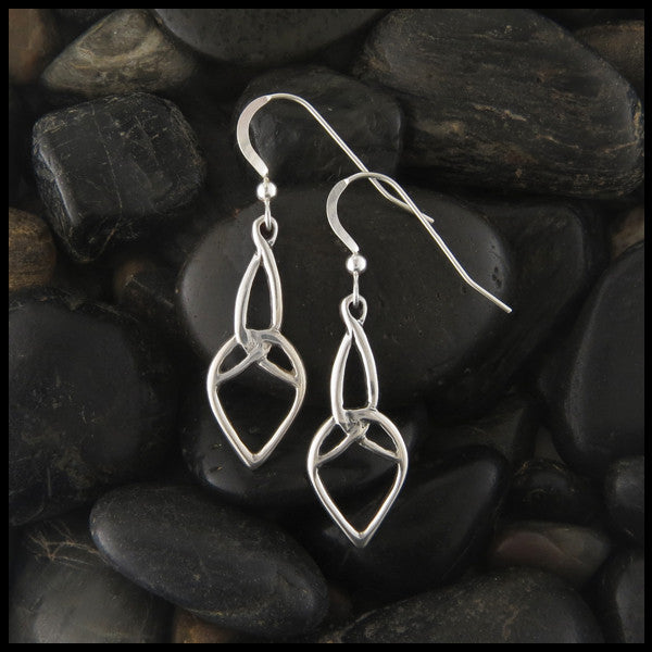 Trinity Drop Celtic earrings in Sterling Silver