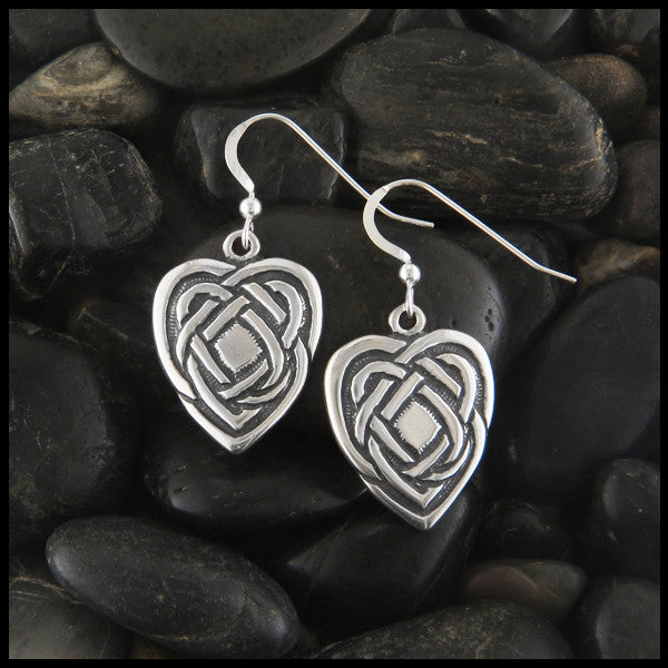Large Heart drop Celtic Earrings in Sterling Silver