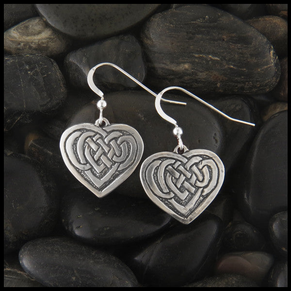 Heart Knot Celtic Drop earrings in Sterling Silver