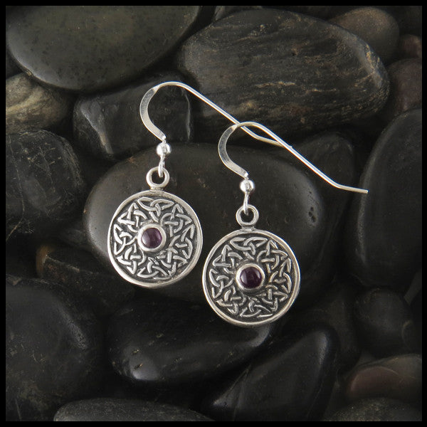 Celtic Drop Wheel of Life earrings with Gemstones