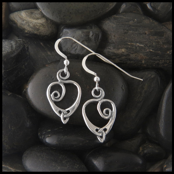 Spiral Celtic Knot Heart drop earrings in Sterling Silver