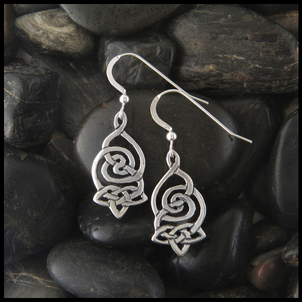 Spiral Celtic Drop earrings in Sterling Silver