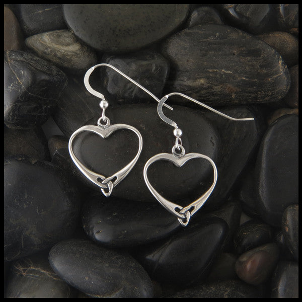 Celtic Trinity Heart Earrings in Sterling Silver