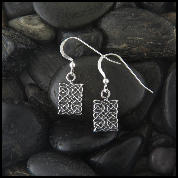 Unique Celtic Knot Drop earrings in Sterling Silver