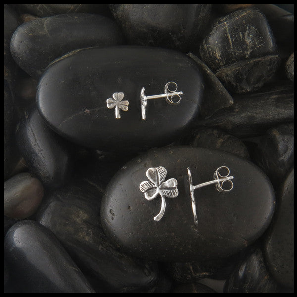 Shamrock post earrings in two sizes in Sterling Silver