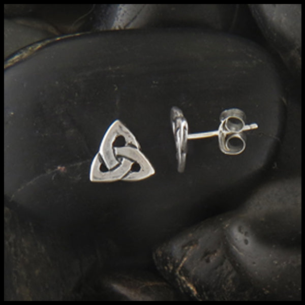 Simple Triquetra Post Earrings in Silver