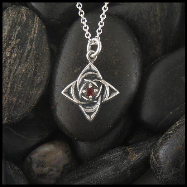 Celtic Star pendant in Sterling Silver with gemstones