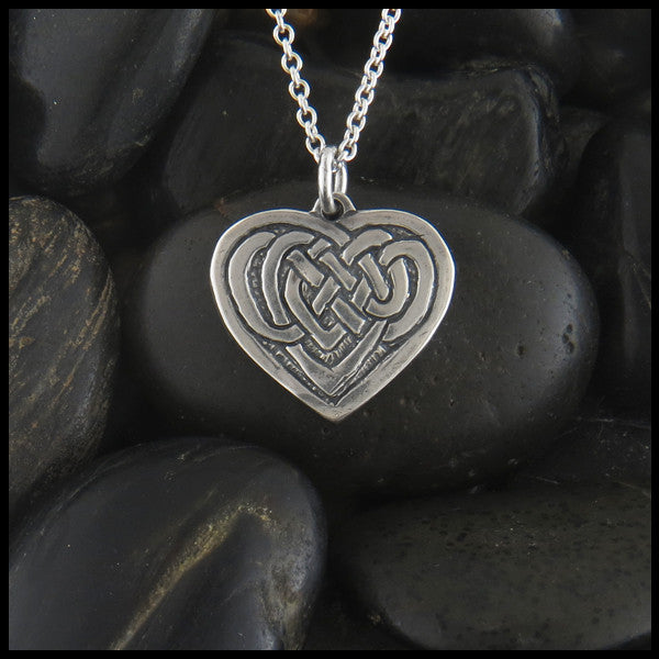 Small Celtic Heart knot necklace in Sterling Silver